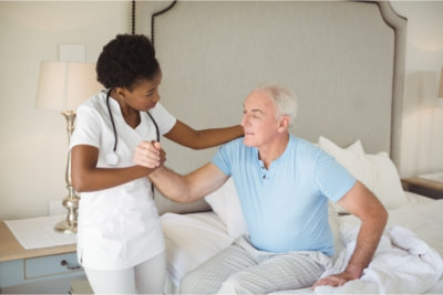 nurse taking care of a senior